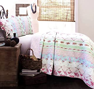Cozy Line Home Fashions Size 2 Piece Wild Rose Enchantment Cotton Quilt Set, Twin