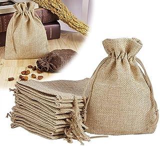 brown leaf Royal Premium Small Jute Linen Potli Bags, 5 x 3.5 Inch (Beige) - Set of 48