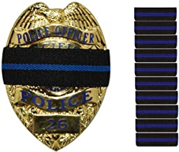 """10-PACK Thin Blue Line Stripe Black Police Officer Badge Shield Funeral Honor Guard Mourning Band Strap 3/4"""""""