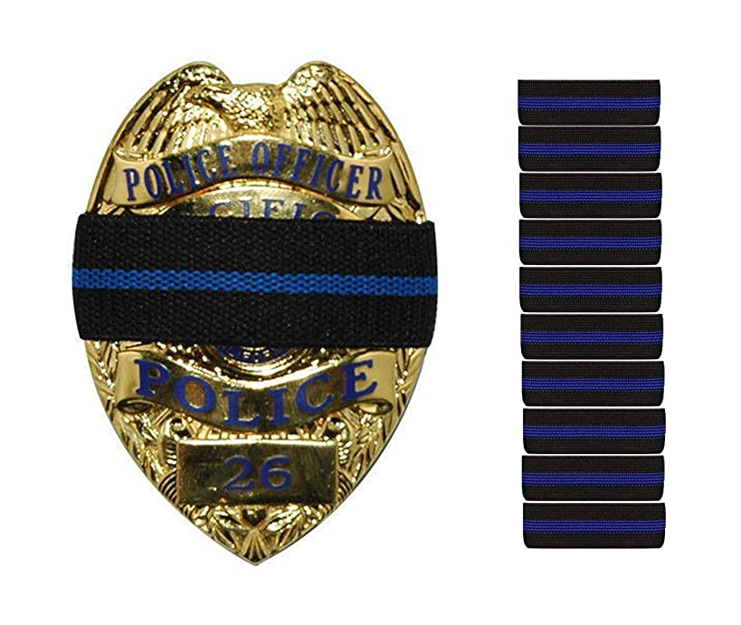 10-PACK Thin Blue Line Stripe Black Police Officer Badge Shield Funeral Honor Guard Mourning Band Strap 3/4