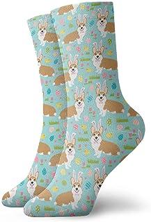 N\A, Corgi Easter Fabric Bunny Egg Unisex Soft Crew Calcetines deportivos cortos para todas las estaciones
