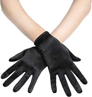 BABEYOND Short Opera Satin Gloves Wrist Banquet Gloves Tea Party Dancing Gloves