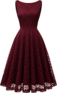 Women's Short Floral Lace Bridesmaid Dress V-Back Sleeveless Formal Cocktail Party Dress