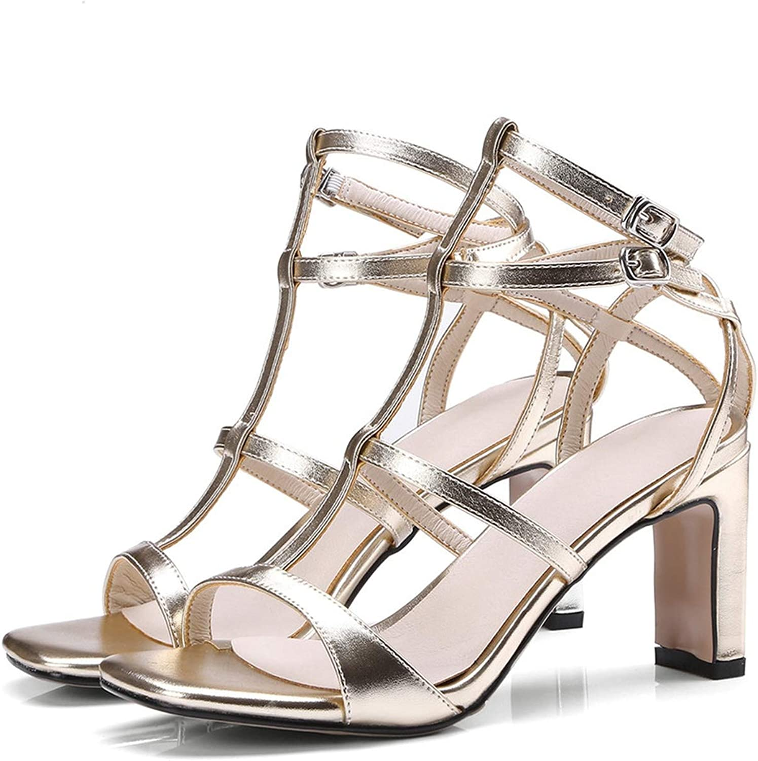 Summer shoes Woman 33-44 Buckle Elegant Prom Wedding shoes Thick Heel Sandals Women