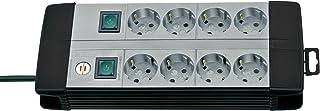 Brennenstuhl Premium-Line, Technik Steckdosenleiste 8-fach Duo mit 4-fach schaltbaren Steckdosen mit 3m Kabel Farbe: schwarz / lichtgrau