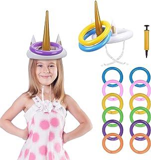 Kit de Unicornio para Niños PATAZOK 2 Juego de Lanzamiento de Anillos de Unicornio Inflable/Juguetes para Piscina/Jardín/Fiesta con 12 Anillos y 1 Bomba de Aire para Fiesta de Verano/Cumpleaños/Boda