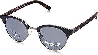 نظارة شمسية بشكل بيضوية من تيمبرلاند 19307221 TB9147E لون اسود لامع/دخاني للرجال