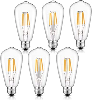 CRLight Dimmable LED Edison Bulb 4W 2700K Warm White, 400LM 40W Incandescent Equivalent Vintage ST64 / ST21 LED Filament Bulbs, E26 Medium Base Clear Glass, Pack of 6