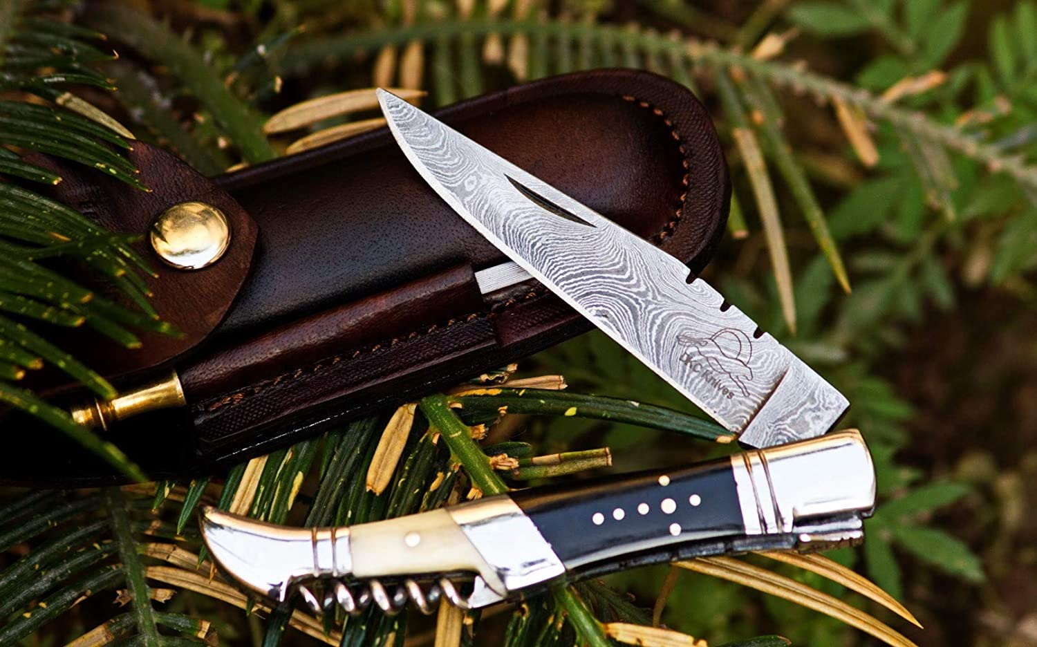 Year-end gift DKC-54-DS SQUIRE MASTER Damascus Dallas Mall Pocket Corkscrew Laguiole Style