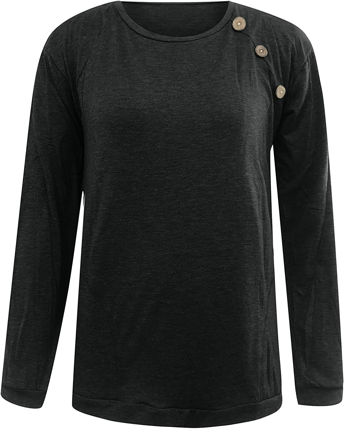 VonVonCo Pullover Sweaters for Women Ladies Casual Pure Color with Pockets Round Neck Loose Blouses Long Sleeve Button Top