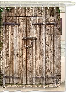 FKOG Rustic Barn Door Shower Curtain Rural Vintage Wooden Garage Door Country Waterproof Fabric White Gray Greenby 70
