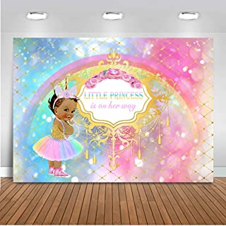 Mehofoto Unicorn Baby Shower Backdrop Princess Rainbow Sparkle Photography Background 7x5ft Vinyl African American Girl Party Backdrops Banner Decoration