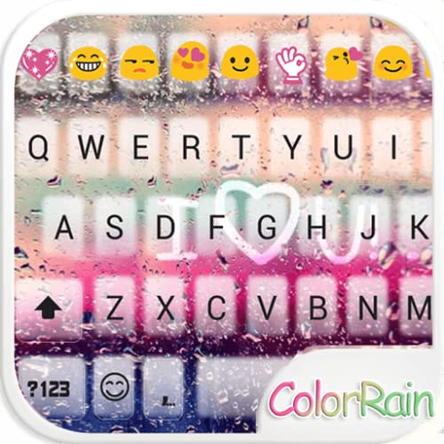 Color Rain Emoji Keyboard Theme