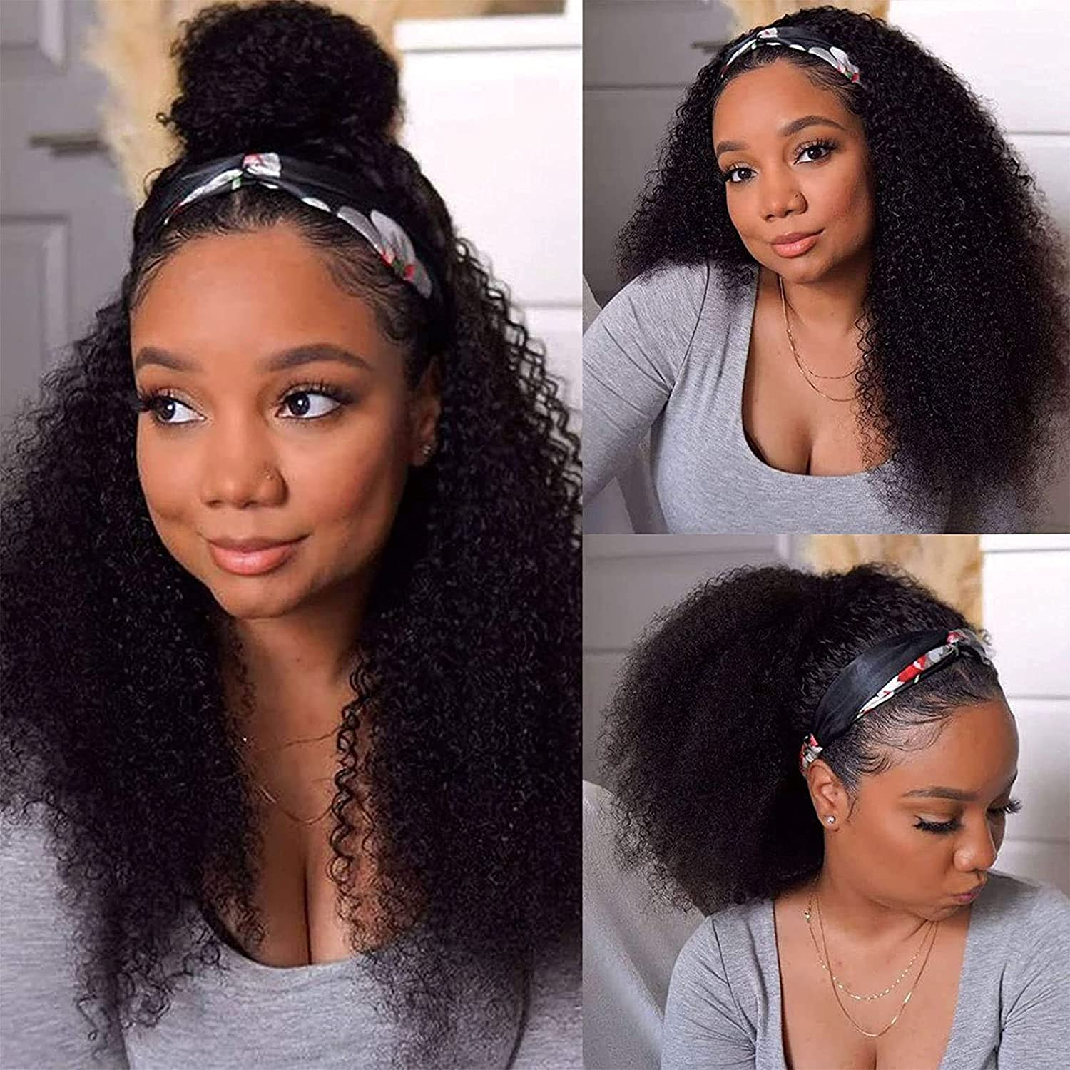 Headband Wig Human Hair Kinky for Discount mail Easy-to-use order Curly Black Wigs Wome