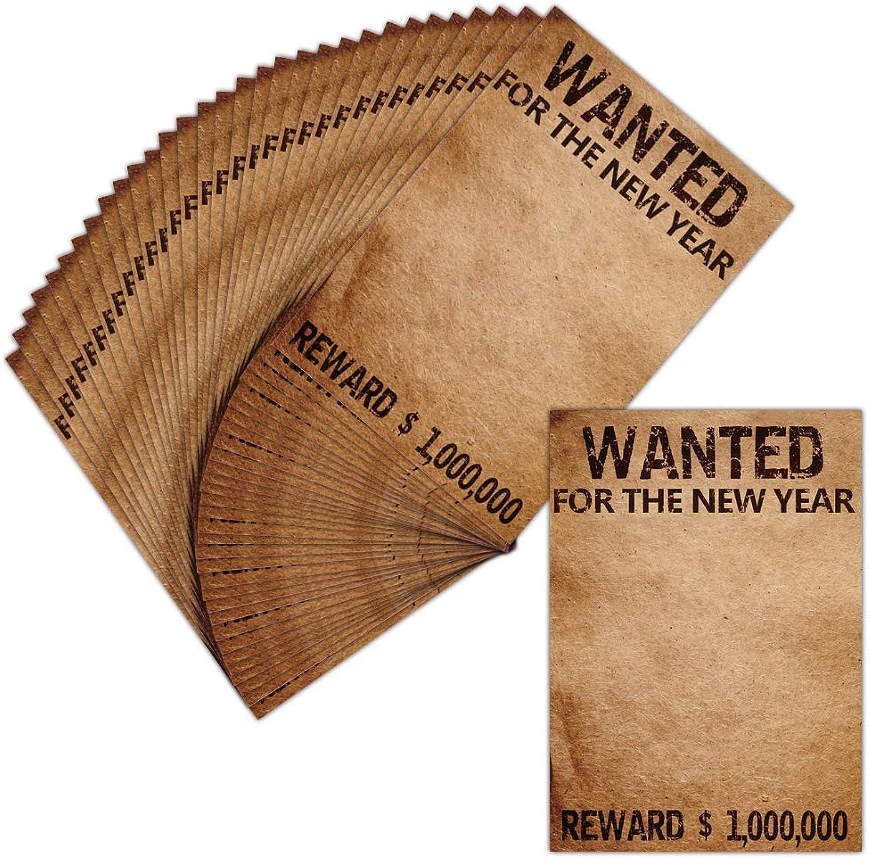 Personalisierbare Grußkarte – 32 Karten – Wanted For The New Year – Dispo in 3 Größen Carte pliée - 14 cm x 19,5 cm B07KR5PJSJ | Großer Räumungsverkauf