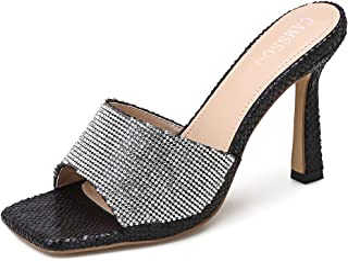 Women's Rhinestone Square Toe Heeled Sandals Stiletto Mules Open Toe Slip On Backless Fashion Sexy Dress High Heels Slippe...