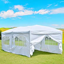 charaHOME 10'x20' Outdoor Canopy Tent, Pop up Canopy Tent,Gazebo Portable Wedding Party Tent Carrying Case/Bag,Adjustable Folding Gazebo Pavilion Patio Shelter with 6 Removable Side Walls,White