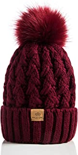 PAGE ONE Womens Winter Ribbed Beanie Crossed Cap Chunky Cable Knit Pompom Soft Warm Hat
