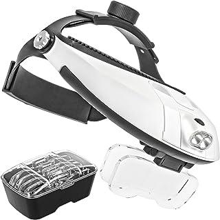 Impulsfoto Professioneel vergrootglas met verstelbare hoofdband met dubbele ledverlichting en 5 x High Definition vergroot...