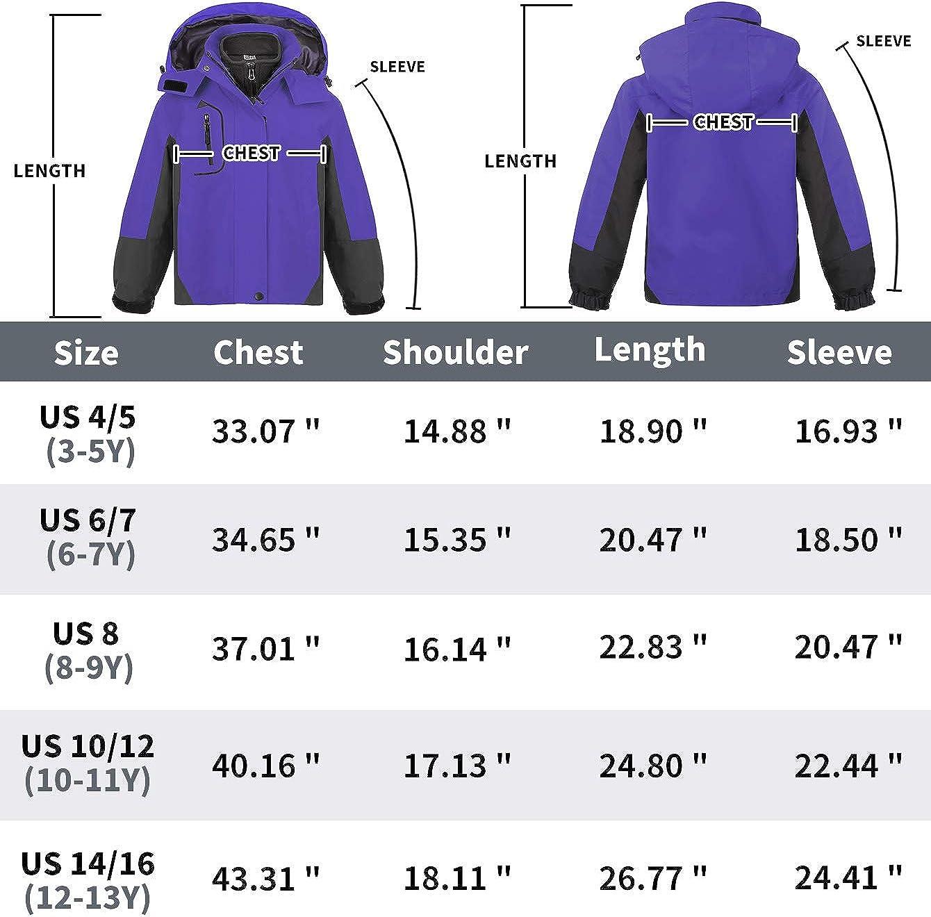 MORCOE Girls/' 3 in 1 Ski Jacket Outdoor Waterproof Interchange Windproof Fleece Travel Outerwear Winter Snowboard Coat