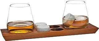 Godinger Whiskey Glasses and Chilling Rocks Bar Set on Elegant Wooden Display Tray