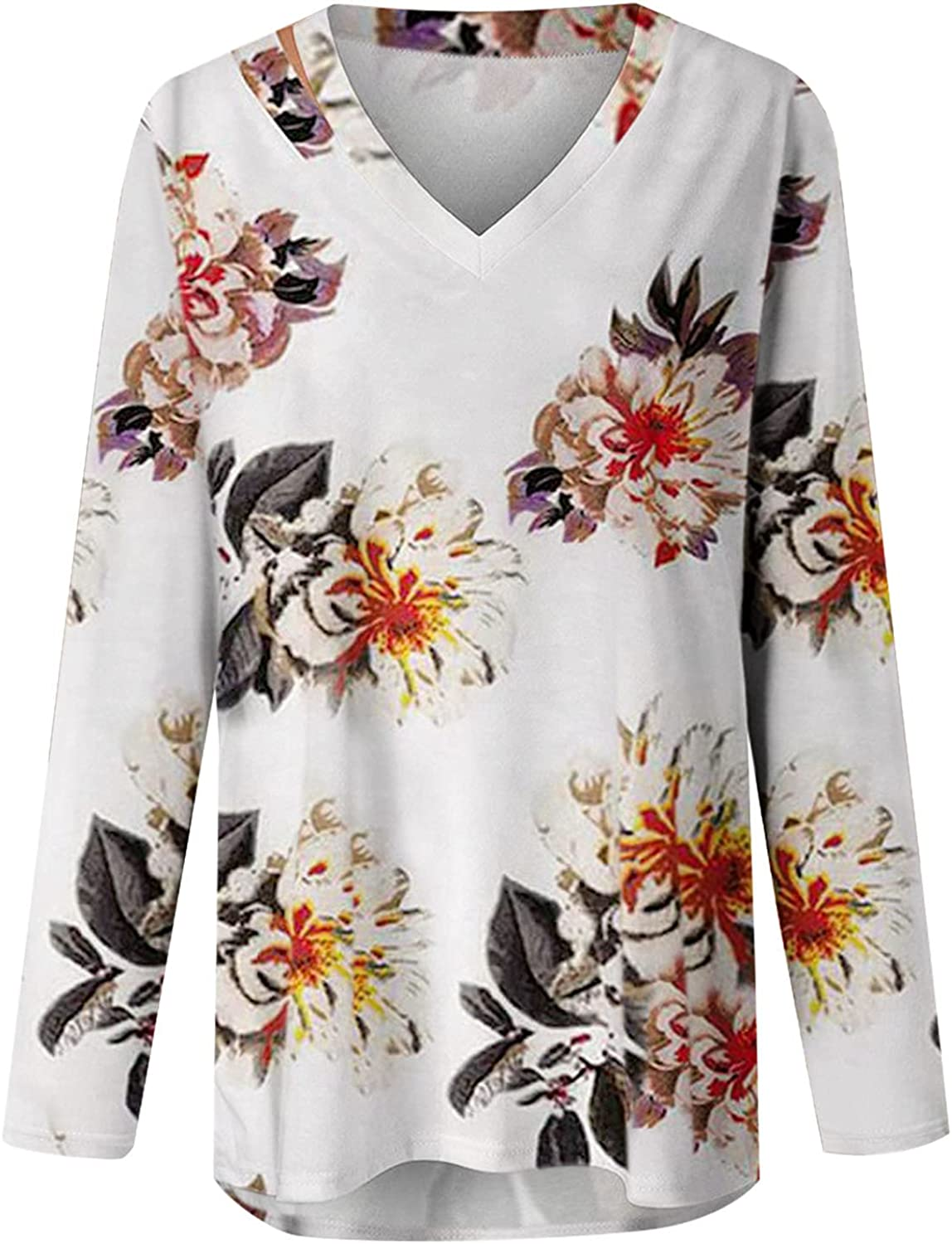 AODONG Long Sleeve Shirts for Women, Womens Casual V Neck Floral Print Shirt Blouses Long Sleeve Loose Fit Tunic Tops