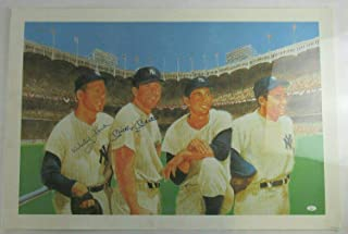 Mickey Mantle Whitey Ford Signed Auto Autograph 24x36 Lithograph Print BB082 - JSA Certified - Autographed MLB Art