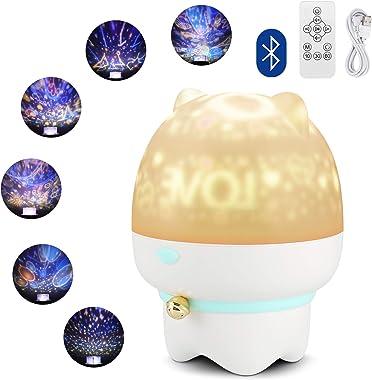 Gobesty Projecteur de veilleuse pour bébé, projecteur à LED Star Light Galaxy Projecteur avec 6 Films de Projection Haut-Parl