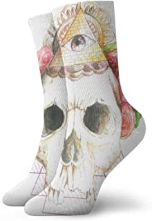 Watercolor Skull Roses Egyptian Amulet Sketch Mens Athletic Crew Socks Basketball Cushioned Sport Long Compression Socks