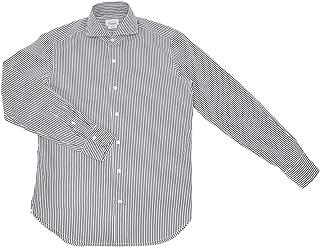 (ジャンネット)GIANNETTO 長袖ドレスシャツ メンズ ストレッチシャツ グレー&ホワイト 正規取扱店