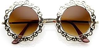 7ff23cf6ed1 Womens Fashion Metal Cut-Out Lace Circle Round Sunglasses (Gold Amber)