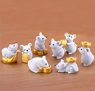 Smilesky Miniature Mouse Figure Animal Rat Toys Decorations Fairy Garden 2020 Year of The Rat Zodiac Mascot Rat Hold Money (8 Pcs)