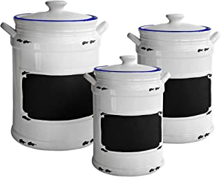 American Atelier 1562161-RB Vintage Canister Set 3-Piece Ceramic Jars Chic Design With Lids for Cookies, Candy, Coffee, Flour, Sugar, Rice, Pasta, Cereal, 21x8x11