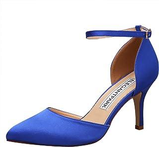 2714e6e9923 ElegantPark Women Pointed Toe High Heel Pumps Satin Ankle Strap Wedding  Bridal Evening Party Dress Shoes