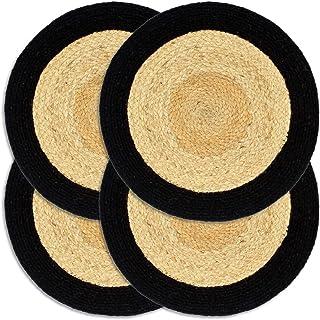 HUANGFINPI Couleur : l et Noir Linge de Table Napperons 4 pcs l et Noir 38 cm Jute et Coton