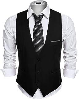 Coofandy Men Floral Party Tuxedo Vest V-Neck Slim Fit Dress Suit Vest Waistcoat