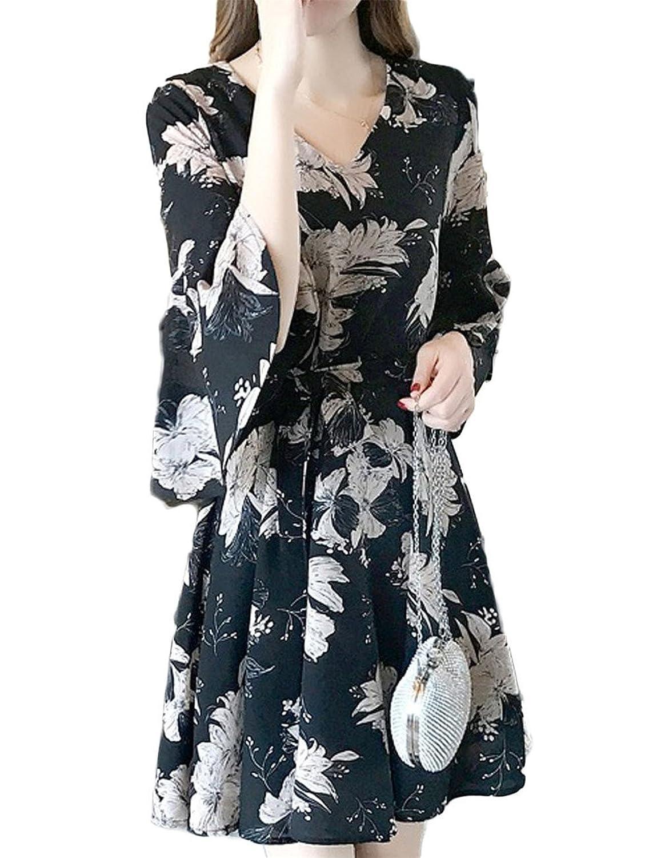 [美しいです] レディース ワンピース 花柄 シフォン 五分袖 夏 秋 冬 Aライン スリム フリル