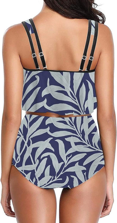 PotteLove Women Floral-151 Swimsuit Original Tankini top with High Waisted Bottom Bikinis Set Two Piece Swimdress