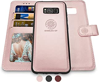 Shields Up Galaxy S8 Wallet Case, [Detachable] Magnetic Wallet Case, Durable and Slim, Lightweight with Card/Cash Slots, Wrist Strap, [Vegan Leather] Cover for Samsung Galaxy S8 -Rose Gold