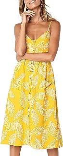 Women's Summer Floral Bohemian Spaghetti Strap Button Down Swing Midi Dress with Pockets