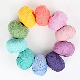 Gazzal Baby Cotton Yarn Set for Knitting and Crochet. Pack of 10 Skeins, Total 1800 Yards. Great for Baby Blankets and Clo...