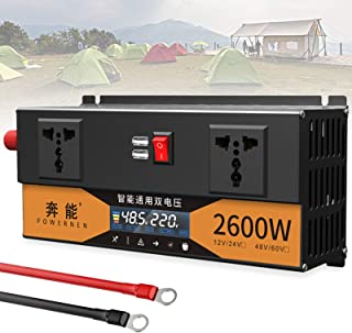 Power Inverter DC 48V/60V to AC 220V 220V 220V, 2600W 3200W Dual Voltage Pure Sine Wave Inverter Car Converter with AC Out...