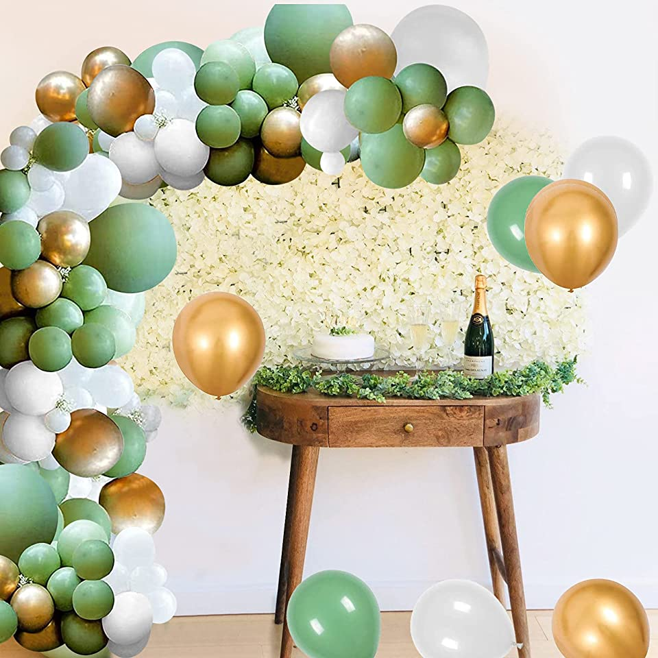 Balloon Garland Arch Kit, GRESAHOM Green White Gold Latex Balloons with Tape Strip & Glue Dots & Ribborn, Tropical Party Theme Backdrop Decoration for Baby Shower, Birthday, Wedding, Graduation