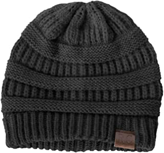 Rich Cotton Knit Beanie Skully Stretchy Slouchy Cable Hat Cap Chunky Baggy Unisex Women Men for Winter Warm Soft Wool