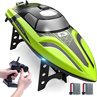 DEERC 2008 RC Boat Remote Control Boat with LED Light for Pools & Lakes,20+ mph Self Righting...