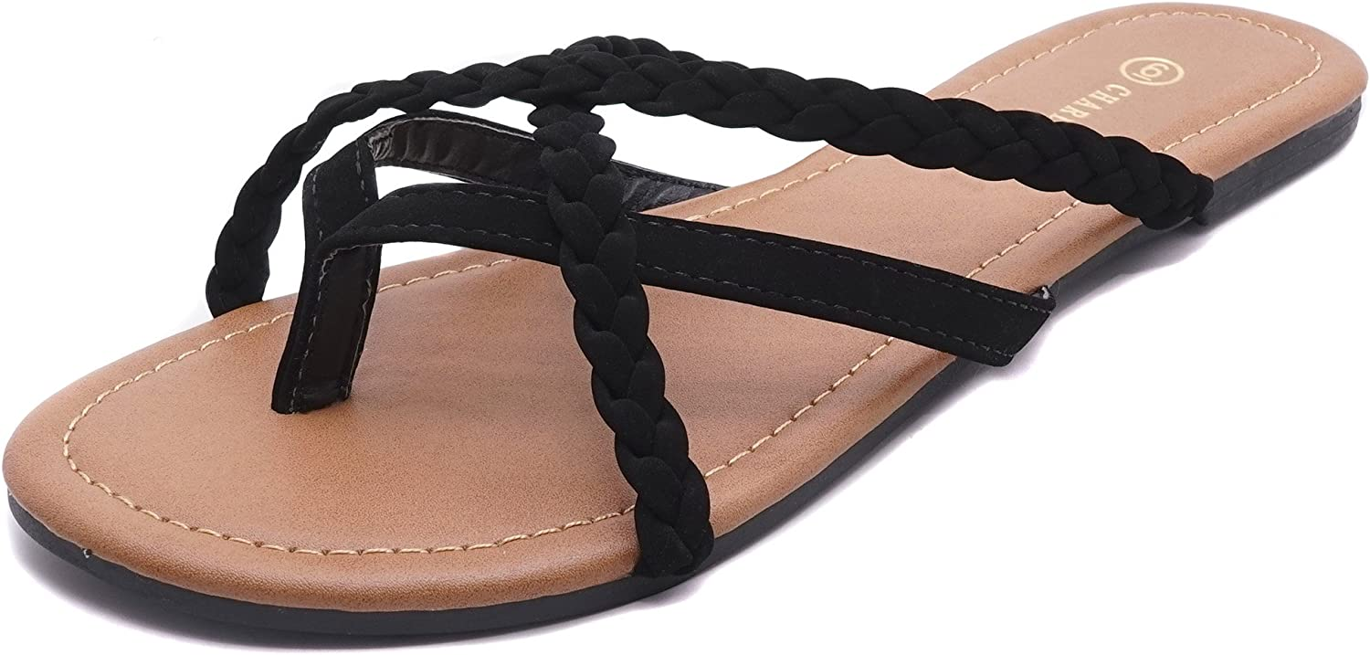 Charles Albert Summer Braided Easy Criss Cross Flip Flops Sandals (6, Black)