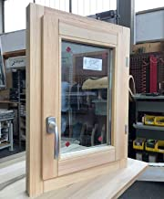 Window van hout verlijmd hout onbehandeld L 50 x H 50 cm boog - dubbel glas - handvat - gebeitst - klaar voor geschilderd ...