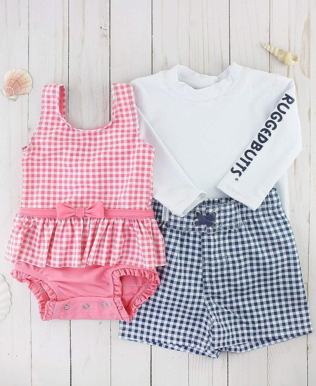 Sun Protection RuffleButts Infant//Toddler Girls Peplum Short Sleeve One Piece Swimsuit UPF 50