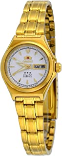 Orient #FNQ1S002W Women's 3 Star Gold Tone Stainless Steel White Dial Automatic Watch
