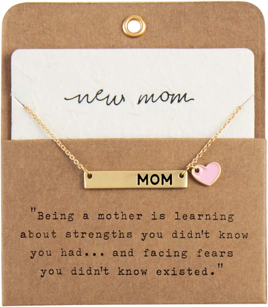 Mud Pie Women's Pink New Mom Necklace, 8